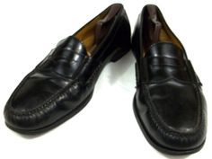 Cole Haan Penny Loafers Mens Size 15 D Solid Black Leather Shoes #ColeHaan #LoafersSlipOns