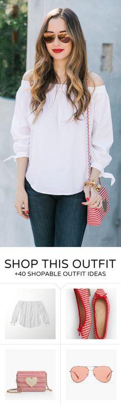 spring fashion /  White Off Shoulder Blouse & Red Striped Shoulder Bag