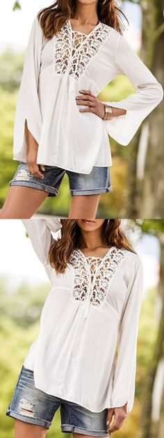 4b3a1fedc4 White Crochet Lace Tie Front Flare Long Sleeve Blouse