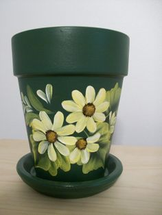 Hand-painted Green Flower Pot with Yellow Daisies.