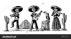 Day of the Dead Dia de los Muertos. The skeleton in the Mexican national costumes dance, sing, play the guitar, violin, trumpet. Griffin on barrel with skull, cactus. Vector vintage engraving isolated