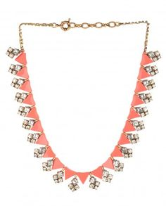 Coral Triangular Beaded Necklace - $55