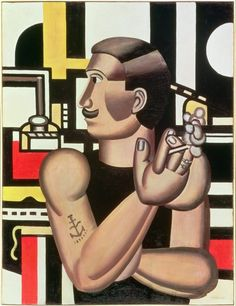 The Mechanic (1920), Fernand Léger. Before abstracted scaffolding the mechanic appears monumental and machine-like. Léger instils a sense of balance by carefully contrasting the flat geometric background with the figure modelled in relief. His shoulders are broad, his arms muscular, and with sleek hair and a well groomed moustache, this guy sorts the men from the boys.