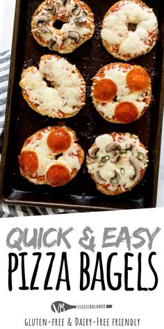 Oct 2019 - Gluten Free Pizza Bagels are the snacks your family will attack without fear of the problematic protein. No gluten, all the awesomeness. Prepare to fall in love with these. Bagels Sans Gluten, Pizza Sans Gluten, Dairy Free Pizza, Dairy Free Recipes, Gourmet Recipes, Cooking Recipes, Drink Recipes, Pizza Recipes, Easy Recipes