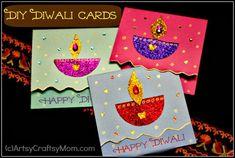 Diwali Card DIY set | 40+ Diwali Ideas   Cards, Crafts, Decor, DIY | India Crafts #GlitterCrafts #Foam #Diwali