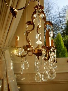 Vintage French Bronze Crystal Cage Chandelier