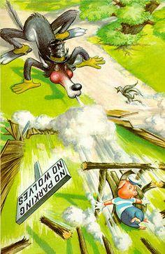House of sticks blown down - Three Little Pigs - Robert Lumley - Ladybird Books Werewolf Art, Pig Drawing, Pig Illustration, Ladybird Books, Classic Artwork, Big Bad Wolf, Three Little Pigs, Fairytale Art, Animated Cartoons