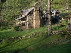 long shot of 1840 log home