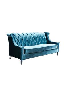 "Barrister Sofa by Armen Living at Gilt -- Velvet upholstered diamond tufted sofa Birchwood and chrome frame construction -- Measurements:  83"" W x 35"" D x 38"" H; Seat height 19"""