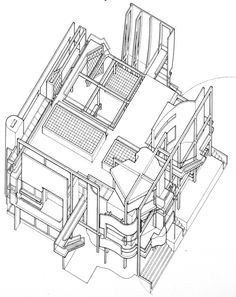 Sanford and Joy Snyderman House. New Classical Architecture, Architecture Drawings, School Architecture, Architecture Design, Types Of Drawing Styles, Axonometric Drawing, New Urbanism, Michael Graves, Plan Drawing