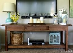 23 trendy Ideas living room with tv decor tv consoles Home Living Room, Apartment Living, Living Room Decor, Rv Living, Small Living, Tv Stand Ideas For Living Room, Table Beton, Rustic Console Tables, Rustic Table