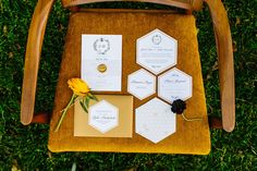 Mid-Century Modern yellow chair with honeycomb wedding invitation. Rentals by Birch & Brass in Austin, TX. Photography @amylynngawlik.