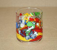 1993 Nintendo Super Mario World Yoshi Luigi Kart Bowser Very Rare Vintage Glass