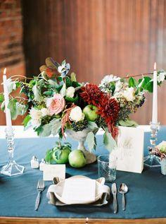 wedding centerpiece- natural & organic (soft pink, white, maroon & fruit)