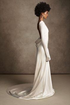 Satin Gown, Silk Wool, Pearl Drop Earrings, Baroque Pearls, Formal Dresses, Wedding Dresses, Gowns, Bridal, Style