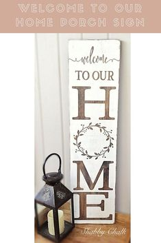Welcome to Our Home Porch Sign-Welcome family and friends this spring/summer to your home with this beautiful porch sign! This Welcome to our Home porch sign is made from pine, stained dark walnut, painted pure white, lightly sanded and sealed for preservation. #affiliate #homedecor #farmhousestyle #farmhousedecor #porch #woodsigns