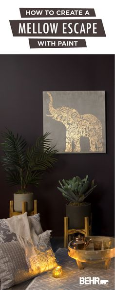 Personalize your home to fit your design style with a new coat of Behr Paint. Nocturne Shade is a dark wall color that can be paired with gold, orange, and purple accent colors to create a warm, cozy space. This living room gives off a boho-chic style thanks to the floor cushions, soft lighting, and houseplants. Click below to see more of this modern space. Dark Purple Bathroom, Dark Purple Walls, Purple Wall Art, Purple Rooms, Accent Walls In Living Room, Accent Wall Bedroom, Living Room Paint, Living Room Modern, Master Bedroom