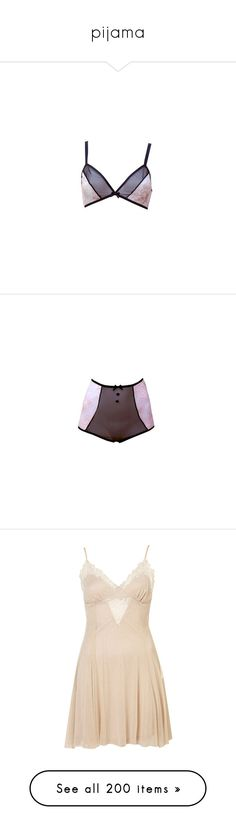 """""""pijama"""" by soniamoreira ❤ liked on Polyvore featuring intimates, lingerie, underwear, bras, sheer lingerie, sheer knickers, see through lingerie, sheer lace lingerie, pink and black lingerie and panties"""