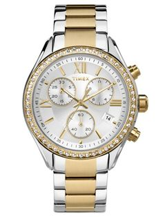 Timex® Elevated Classic Womens Chronograph Two-Tone Stainless Steel Bracelet Watch - JCPenney Stainless Steel Watch, Stainless Steel Bracelet, Sport Watches, Watches For Men, Wrist Watches, Boyfriend Watch, Timex Watches, Watch Model, Michael Kors Watch