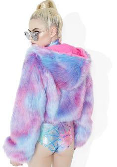 Neon UV Fluorescent Purple Fluffy Furry Hooded Short Coat Jacket Rave Festival