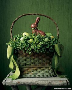 Clover Basket: Good for Easter or St. Patrick's Day  This fanciful green-meadow vignette seems a fitting home for a chocolate bunny. His eyes (dabs of tinted royal icing) and bow-tie (ribbon with a glued-on rosette) match his surroundings.