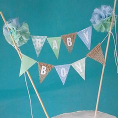 Burlap Cake banner topper baby shower  Baby Boy by Hartranftdesign