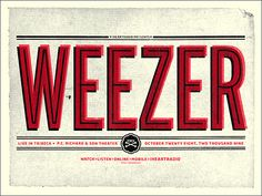 Weezer : by Erick Montes Band Posters, Music Posters, Weezer, Keys Art, Concert Posters, Festival Posters, Work Inspiration, Poster Prints, Gig Poster