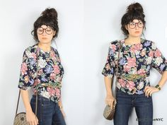 1990s Vintage floral button front knit blouse sz by KroweNYC, $38.00