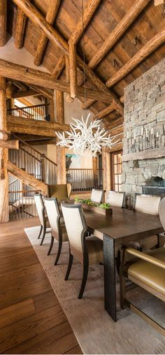 A gallery of spacious rustic dining room interiors for that at-home log cabin feel. Cabin Homes, Log Homes, Cabin Interior Design, House Design, Room Interior, Dining Room Design, Dining Area, Rustic Design, Home Decor