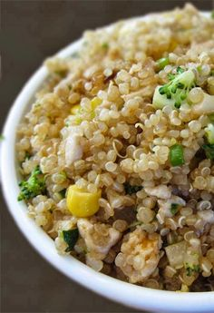 """Healthy Quinoa """"Egg Fried Rice"""" Style.  Still not a huge fan, and this may be the recipe that wins me over."""