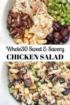A sweet and savory chicken salad recipe with grapes apples pecans and celery! Perfect for meal prep. A sweet and savory chicken salad recipe with grapes apples pecans and celery! Perfect for meal prep. Whole Foods, Whole 30 Diet, Paleo Whole 30, Whole 30 Salads, Whole 30 Snacks, Whole 30 Meals, Whole 30 Drinks, Whole 30 Dessert, Whole 30 Meal Plan