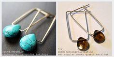 ispirazione e realizzazione: fai da te moda blog: fai da te orecchini minimi rettangolari