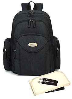 Large Capacity Durable Fabric Baby Diaper bag with Functional 16 Pocket Mummy Travel Backpack 3 Piece Set (Black) - $89.99