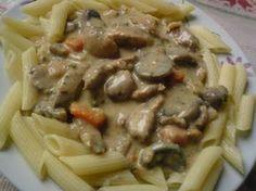 Csirkemelles-gombás penne Penne, Tacos, Beef, Baking, Ethnic Recipes, Food, Meat, Bakken, Eten