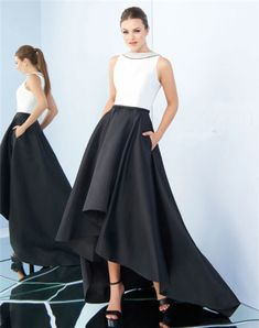 High Neck Full Back Black And White Satin Evening Prom Dress With Pockets Black And White Prom Dresses, Prom Dresses With Pockets, White Satin, Tulle, Ballet Skirt, Skirts, Party, Fashion, Moda