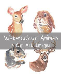 Watercolour Animals Clip Art - Doe, Deer, Squirrel, Stag Head, Rabbit, Digital Clip Art, Woodland Animals, INSTANT DOWNLOAD on Etsy, $5.00