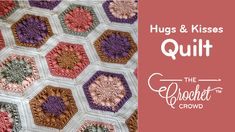 Crochet Hugs & Kisses Hexagon Quilt Blanket It's true, I love Caron Big Cakes the most! This particular colorway, Crochet Hexagon Blanket, Crochet Baby Blanket Beginner, Crochet Crowd, Crochet Triangle, Crochet Quilt, Hexagon Quilt, Crochet Books, Afghan Crochet Patterns, Crochet Squares