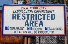 Sign at Hart Island