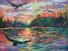 Evening Flight 12x16 Impressionist Landscape Painting of Birds by Award Winner Kendall Kessler