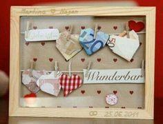 Geld liebevoll verpacken  geld Herzen  im Bilderrahmen zur  Hochzeit