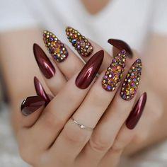 Brand Name: None Application: Finger Nail Length: Extra long Quantity: 24 nails Model Number: Extra long nails Nail Width: Medium Material: Other Size: Cumstom Press on nails Type: Full Nail Tips. Shiny Nails, Red Nails, Hair And Nails, Burgundy Nail Designs, Burgundy Nails, Nail Length, Party Nails, Luxury Nails, Crystal Nails