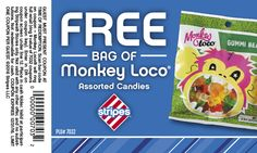 Free Bag of Monkey Loco Gummy Bears at Stripes Stores