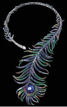 Boucheron-peacock feather necklace