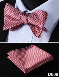 Floral Houndstooth Men Butterfly Self Tie Bow Tie Pocket Square Handkerchief Hanky Suit Set