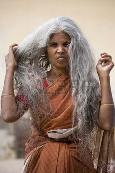 An Indian woman with long hair. Tamil Nadu in southern India