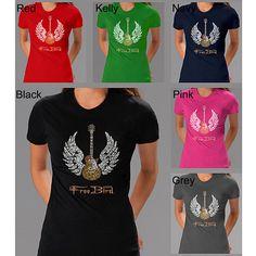 in Black, of course | Los Angeles Pop Art Lynyrd Skynyrd 'Freebird' Lyrics Women's T-shirt ($22) ❤ liked on Polyvore featuring tops, t-shirts, black, black slim fit shirt, print shirts, short sleeve tee, slim fit shirt and pattern shirts