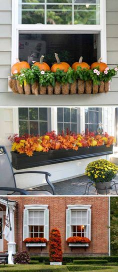 Flower boxes stuffed full with small pumpkins, fall leaves or fall mums add special charm to every home decor.