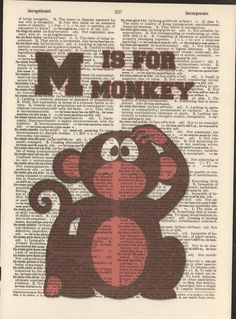 M is for Monkey Vintage Upcycled Book Page Dictionary Art Print Mixed Media