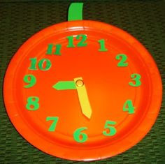 Paper Plate Pumpkin Clock