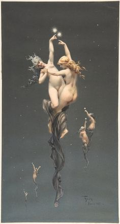 (The Metropolitan Museum of Art, New York, USA) Luis Ricardo Falero was a Spanish painter who specialized in female nudes in a mytholo. Art Du Temps, Art Beauté, Art Visionnaire, Drawn Art, Spanish Painters, Art Graphique, Visionary Art, Erotic Art, Metropolitan Museum